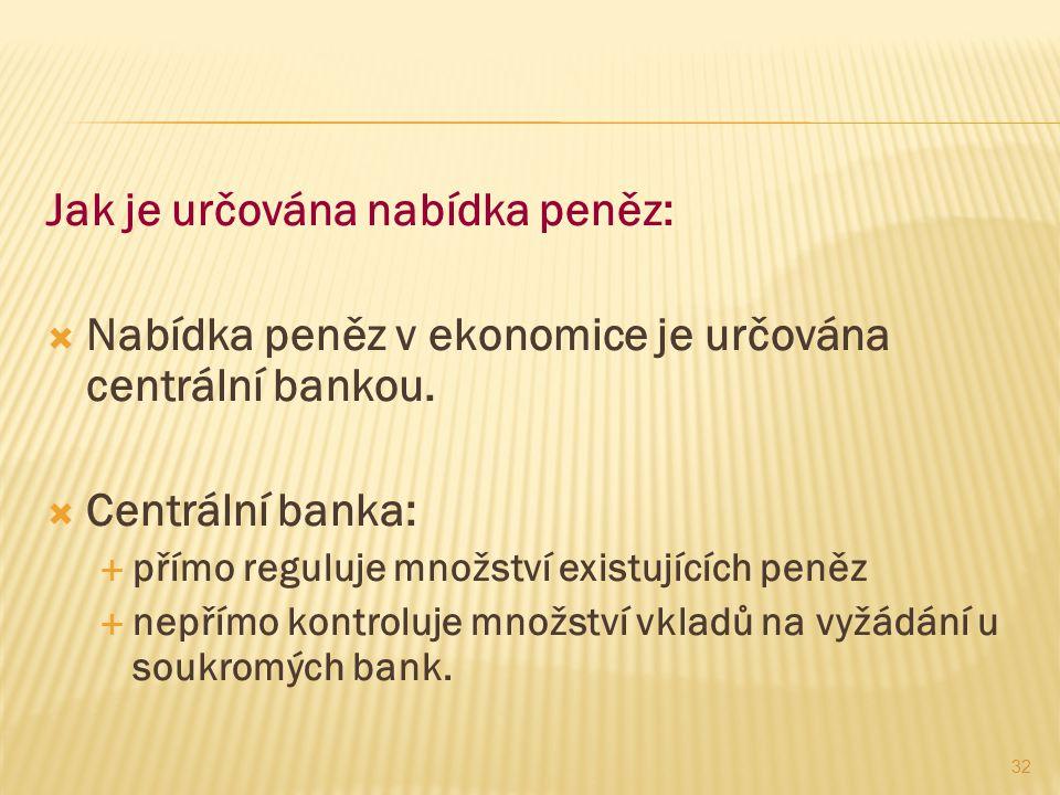 32 Jak je určována nabídka peněz:  Nabídka peněz v ekonomice je určována centrální bankou.  Centrální banka:  přímo reguluje množství existujících