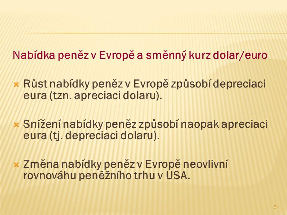 51 Nabídka peněz v Evropě a směnný kurz dolar/euro  Růst nabídky peněz v Evropě způsobí depreciaci eura (tzn. apreciaci dolaru).  Snížení nabídky pe