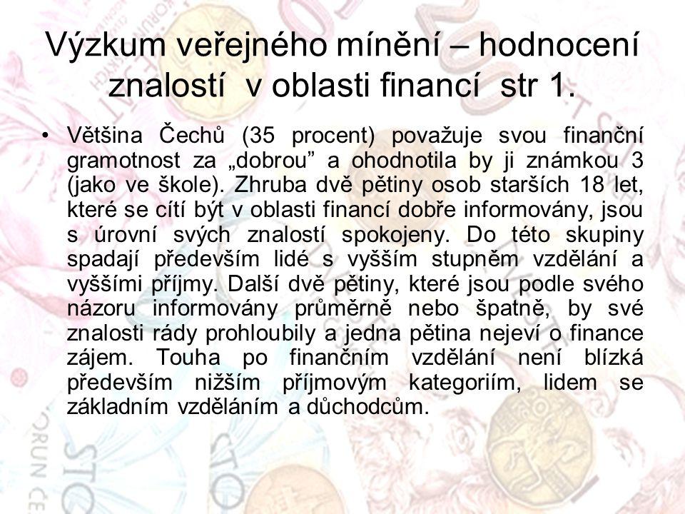 """Výzkum veřejného mínění – hodnocení znalostí v oblasti financí str 1. Většina Čechů (35 procent) považuje svou finanční gramotnost za """"dobrou"""" a ohodn"""
