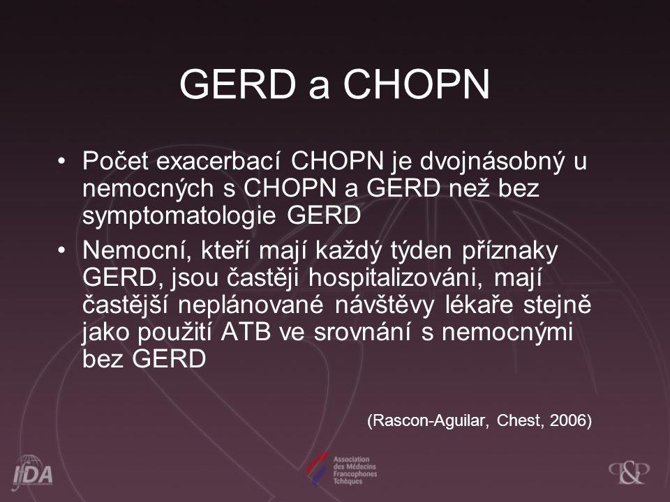 GERD a CHOPN Počet exacerbací CHOPN je dvojnásobný u nemocných s CHOPN a GERD než bez symptomatologie GERD Nemocní, kteří mají každý týden příznaky GERD, jsou častěji hospitalizováni, mají častější neplánované návštěvy lékaře stejně jako použití ATB ve srovnání s nemocnými bez GERD (Rascon-Aguilar, Chest, 2006)