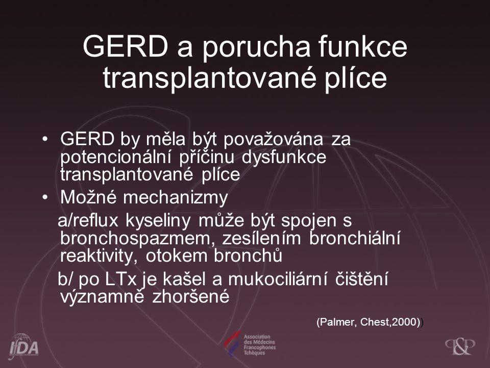 GERD a porucha funkce transplantované plíce GERD by měla být považována za potencionální příčinu dysfunkce transplantované plíce Možné mechanizmy a/re