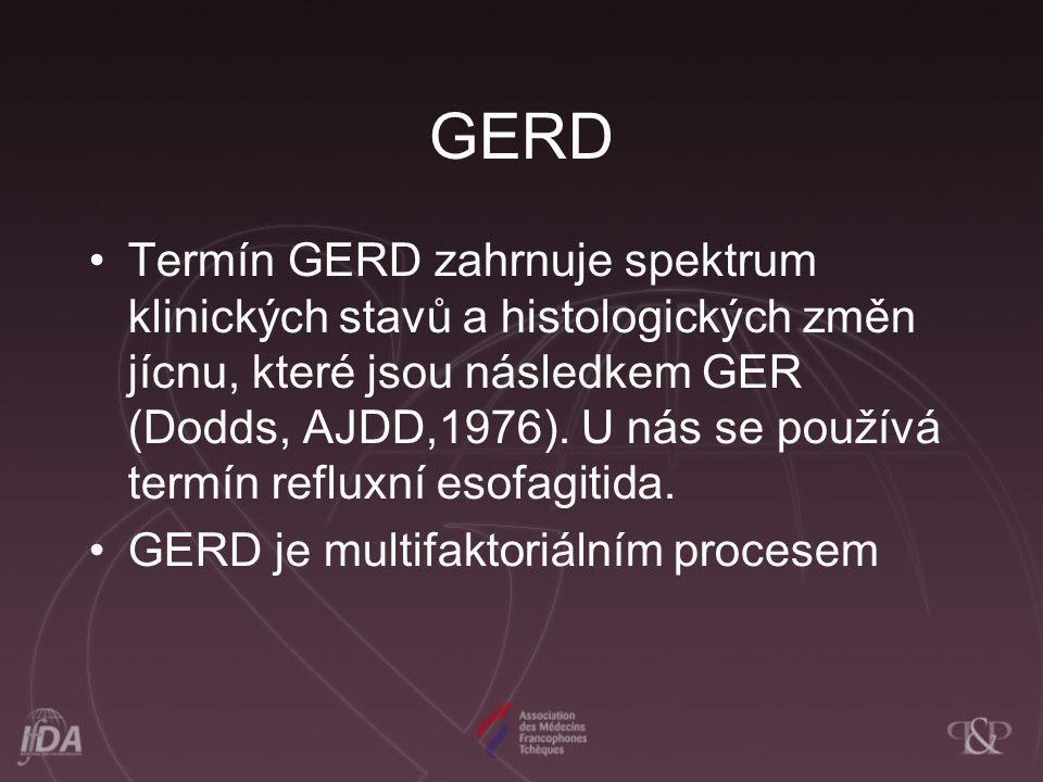 GERD Termín GERD zahrnuje spektrum klinických stavů a histologických změn jícnu, které jsou následkem GER (Dodds, AJDD,1976). U nás se používá termín