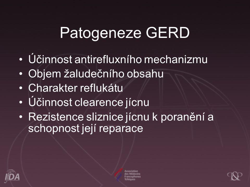 Patogeneze GERD Účinnost antirefluxního mechanizmu Objem žaludečního obsahu Charakter reflukátu Účinnost clearence jícnu Rezistence sliznice jícnu k p