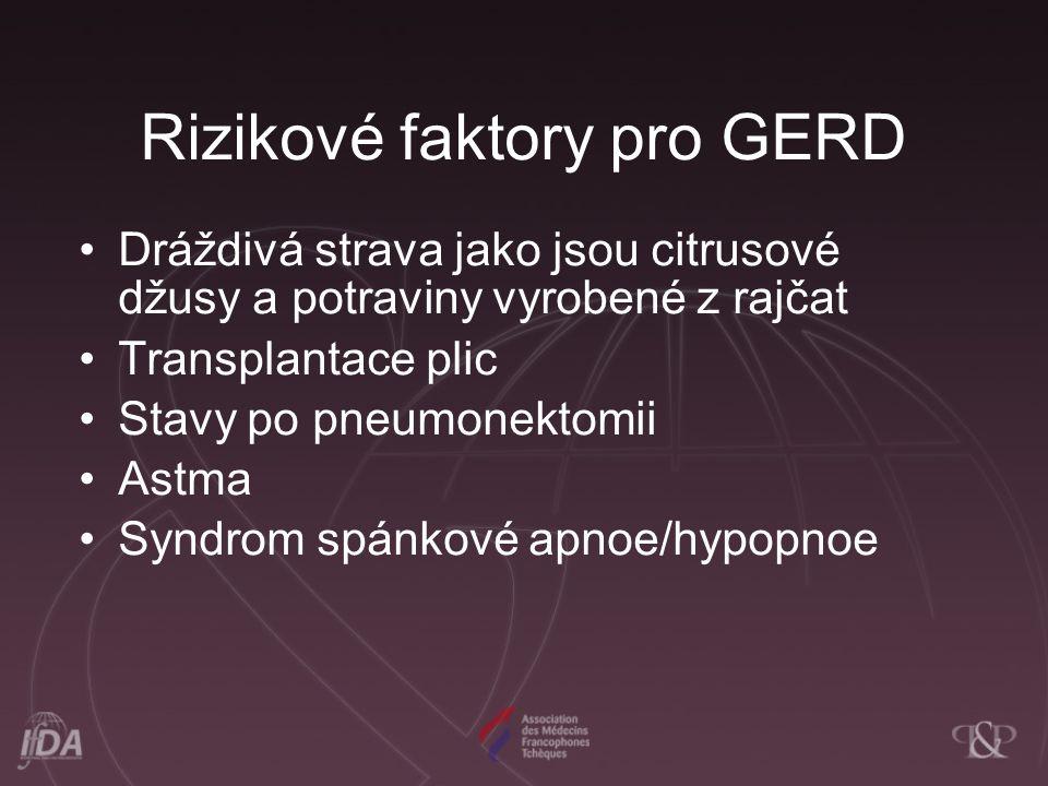 Rizikové faktory pro GERD Dráždivá strava jako jsou citrusové džusy a potraviny vyrobené z rajčat Transplantace plic Stavy po pneumonektomii Astma Syndrom spánkové apnoe/hypopnoe