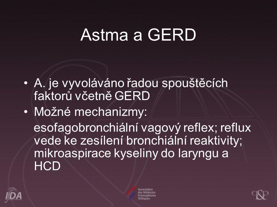 Astma a GERD A. je vyvoláváno řadou spouštěcích faktorů včetně GERD Možné mechanizmy: esofagobronchiální vagový reflex; reflux vede ke zesílení bronch