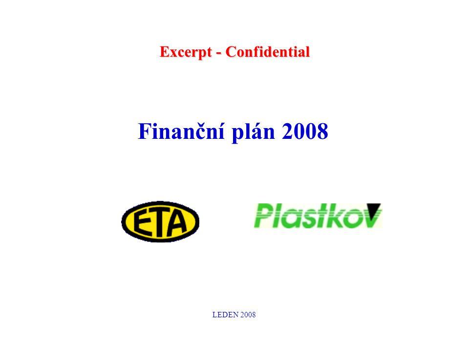Finanční plán 2008 LEDEN 2008 Excerpt - Confidential