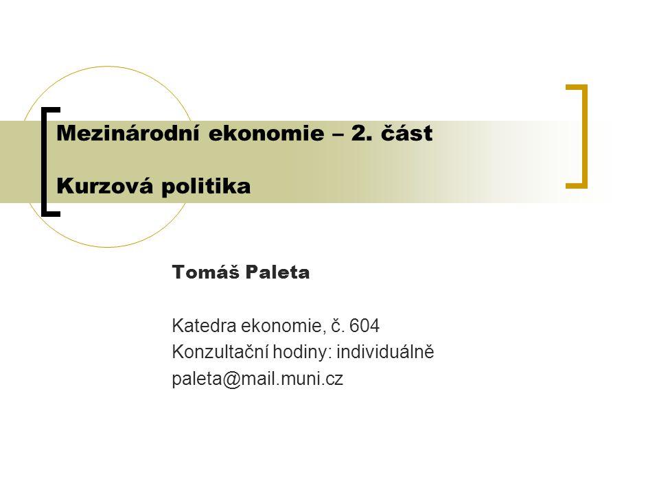 22 Vztah mezi současným směnným kurzem dolar/euro a očekávanou dolarovou výnosností euro depozit (při daném očekavaném kurzu) Očekávaná dolarová výnosnost euro depozit, R € + (E e $/€ - E $/€ ) / (E $/€ ) Dnešní kurz E $/€ 1.02 1.03 1.05 1.07 0.0310.0500.0690.079 0.100 1.00