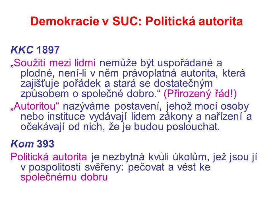 """Demokracie v SUC: Politická autorita KKC 1897 """"Soužití mezi lidmi nemůže být uspořádané a plodné, není-li v něm právoplatná autorita, která zajišťuje pořádek a stará se dostatečným způsobem o společné dobro. (Přirozený řád!) """"Autoritou nazýváme postavení, jehož mocí osoby nebo instituce vydávají lidem zákony a nařízení a očekávají od nich, že je budou poslouchat."""