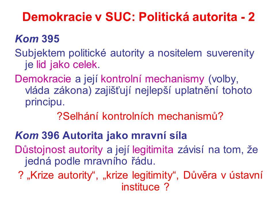 Demokracie v SUC: Politická autorita - 2 Kom 395 Subjektem politické autority a nositelem suverenity je lid jako celek. Demokracie a její kontrolní me