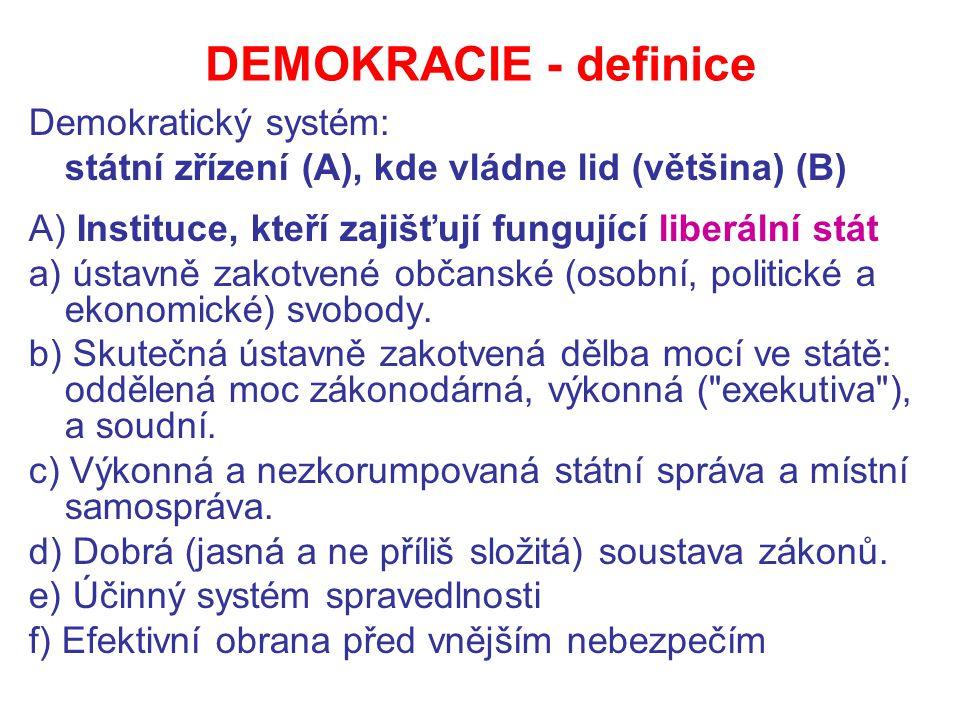 DEMOKRACIE - definice Demokratický systém: státní zřízení (A), kde vládne lid (většina) (B) A) Instituce, kteří zajišťují fungující liberální stát a) ústavně zakotvené občanské (osobní, politické a ekonomické) svobody.