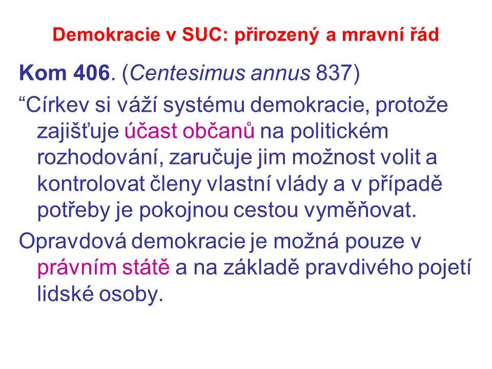"Demokracie v SUC: přirozený a mravní řád Kom 406. (Centesimus annus 837) ""Církev si váží systému demokracie, protože zajišťuje účast občanů na politic"