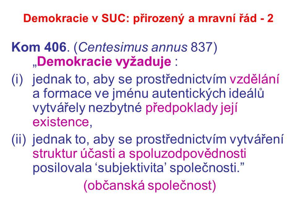 """Demokracie v SUC: přirozený a mravní řád - 2 Kom 406. (Centesimus annus 837) """"Demokracie vyžaduje : (i)jednak to, aby se prostřednictvím vzdělání a fo"""
