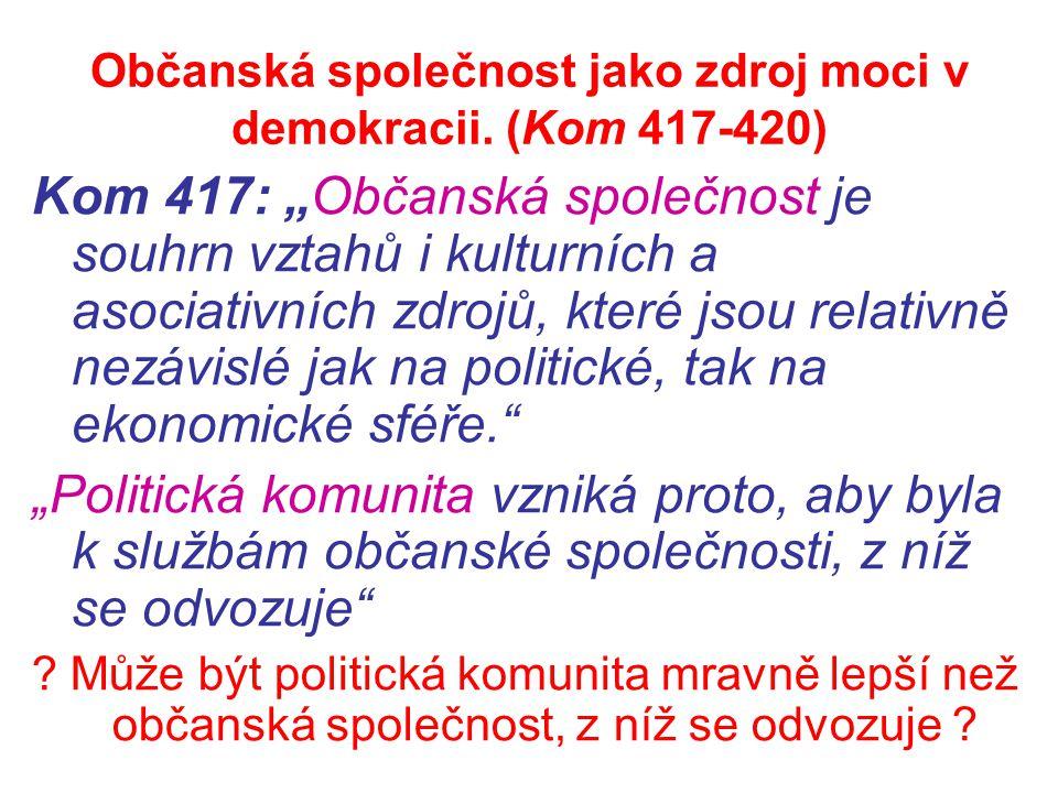 """Občanská společnost jako zdroj moci v demokracii. (Kom 417-420) Kom 417: """"Občanská společnost je souhrn vztahů i kulturních a asociativních zdrojů, kt"""