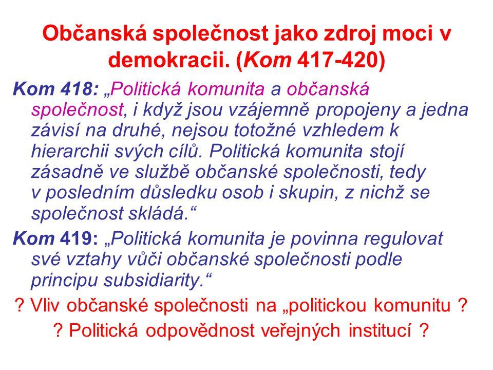 """Občanská společnost jako zdroj moci v demokracii. (Kom 417-420) Kom 418: """"Politická komunita a občanská společnost, i když jsou vzájemně propojeny a j"""