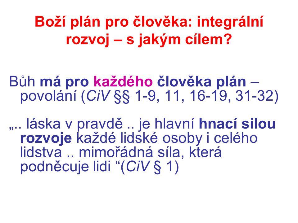 """Boží plán pro člověka: integrální rozvoj – s jakým cílem? Bůh má pro každého člověka plán – povolání (CiV §§ 1-9, 11, 16-19, 31-32) """".. láska v pravdě"""