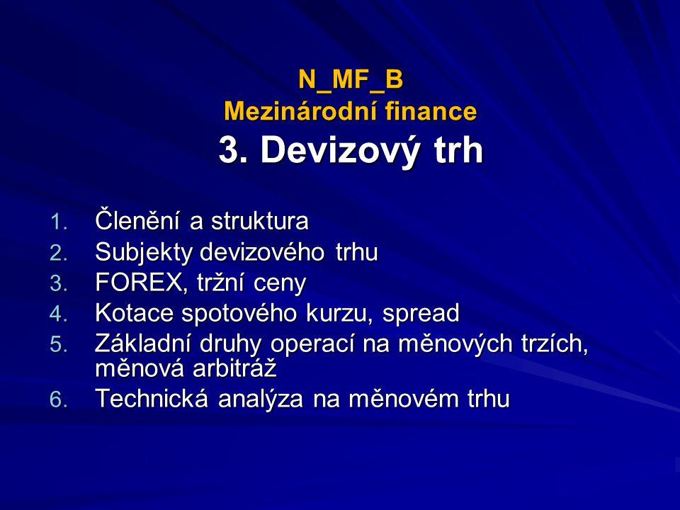 N_MF_B Mezinárodní finance 3. Devizový trh 1. Členění a struktura 2. Subjekty devizového trhu 3. FOREX, tržní ceny 4. Kotace spotového kurzu, spread 5