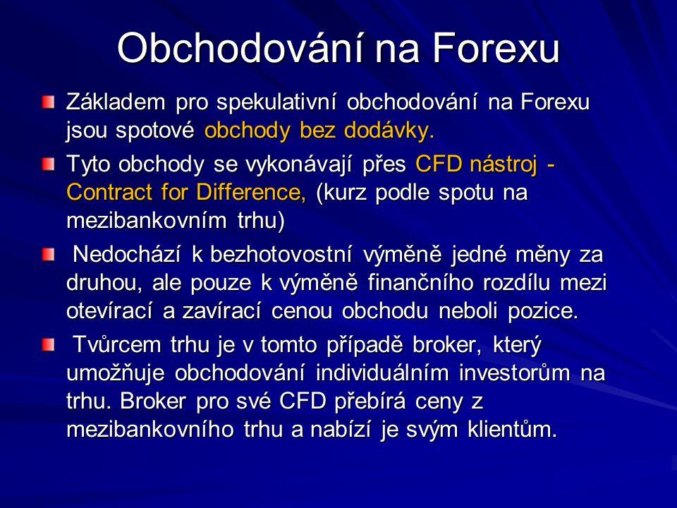 Obchodování na Forexu Základem pro spekulativní obchodování na Forexu jsou spotové obchody bez dodávky. Tyto obchody se vykonávají přes CFD nástroj -