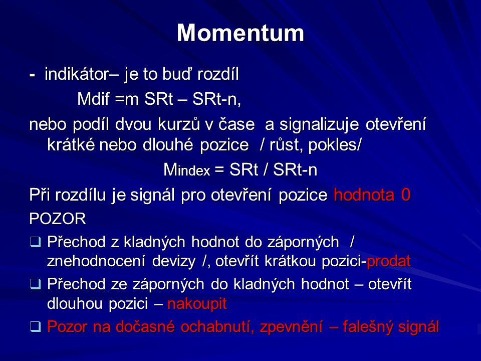 Momentum - indikátor– je to buď rozdíl Mdif =m SRt – SRt-n, Mdif =m SRt – SRt-n, nebo podíl dvou kurzů v čase a signalizuje otevření krátké nebo dlouhé pozice / růst, pokles/ M index = SRt / SRt-n Při rozdílu je signál pro otevření pozice hodnota 0 POZOR  Přechod z kladných hodnot do záporných / znehodnocení devizy /, otevřít krátkou pozici-prodat  Přechod ze záporných do kladných hodnot – otevřít dlouhou pozici – nakoupit  Pozor na dočasné ochabnutí, zpevnění – falešný signál