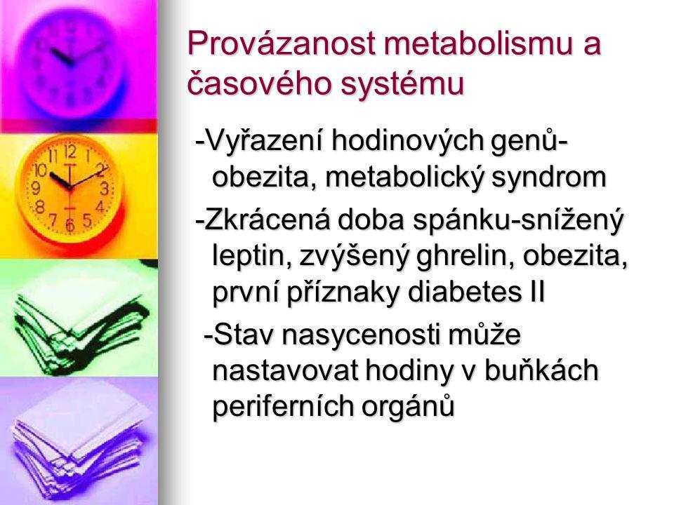 Provázanost metabolismu a časového systému -Vyřazení hodinových genů- obezita, metabolický syndrom -Vyřazení hodinových genů- obezita, metabolický syn
