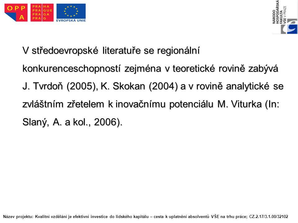 V středoevropské literatuře se regionální konkurenceschopností zejména v teoretické rovině zabývá J.