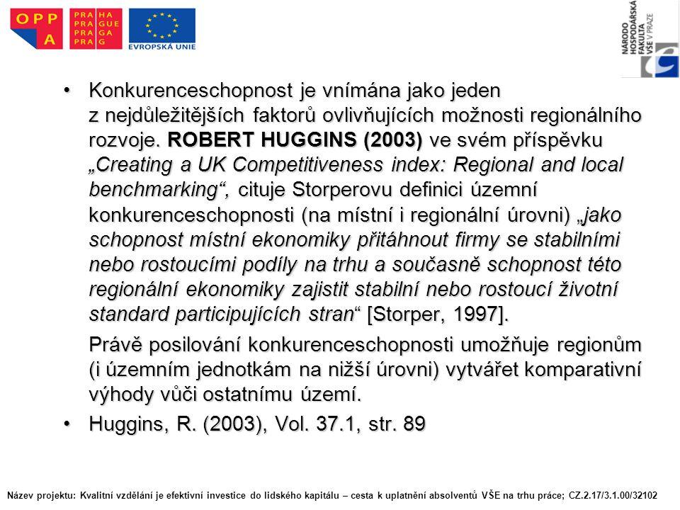 Konkurenceschopnost je vnímána jako jeden z nejdůležitějších faktorů ovlivňujících možnosti regionálního rozvoje.