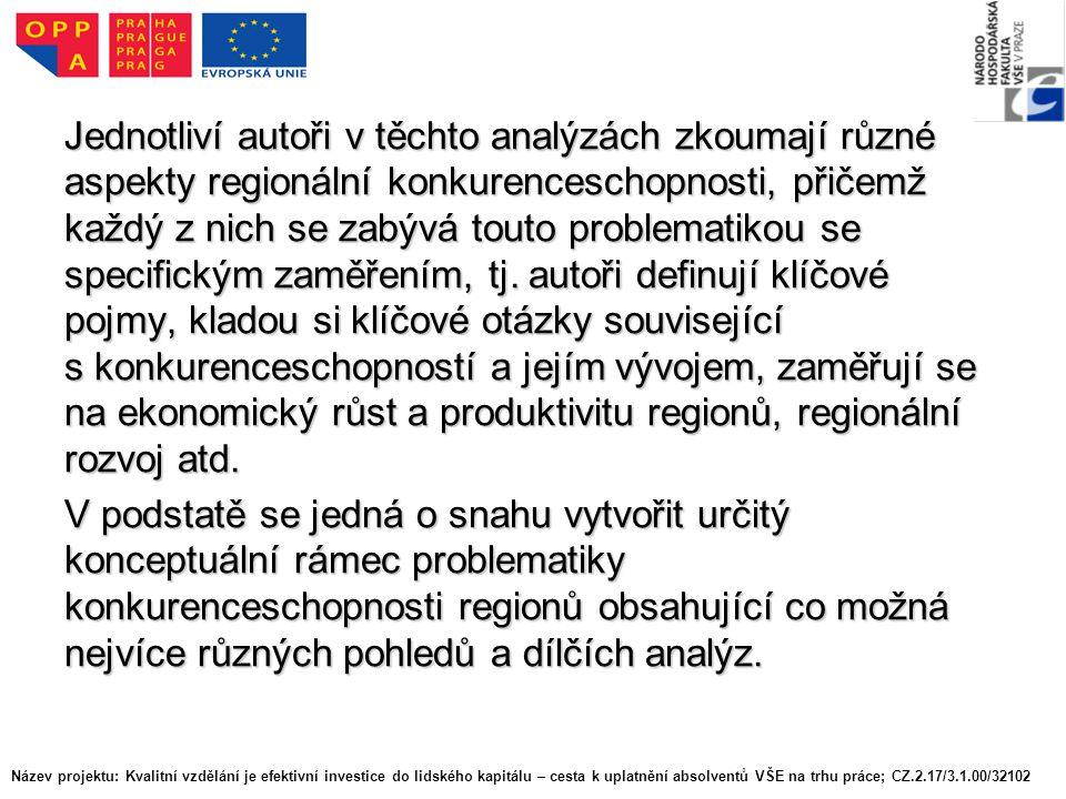 Jednotliví autoři v těchto analýzách zkoumají různé aspekty regionální konkurenceschopnosti, přičemž každý z nich se zabývá touto problematikou se specifickým zaměřením, tj.