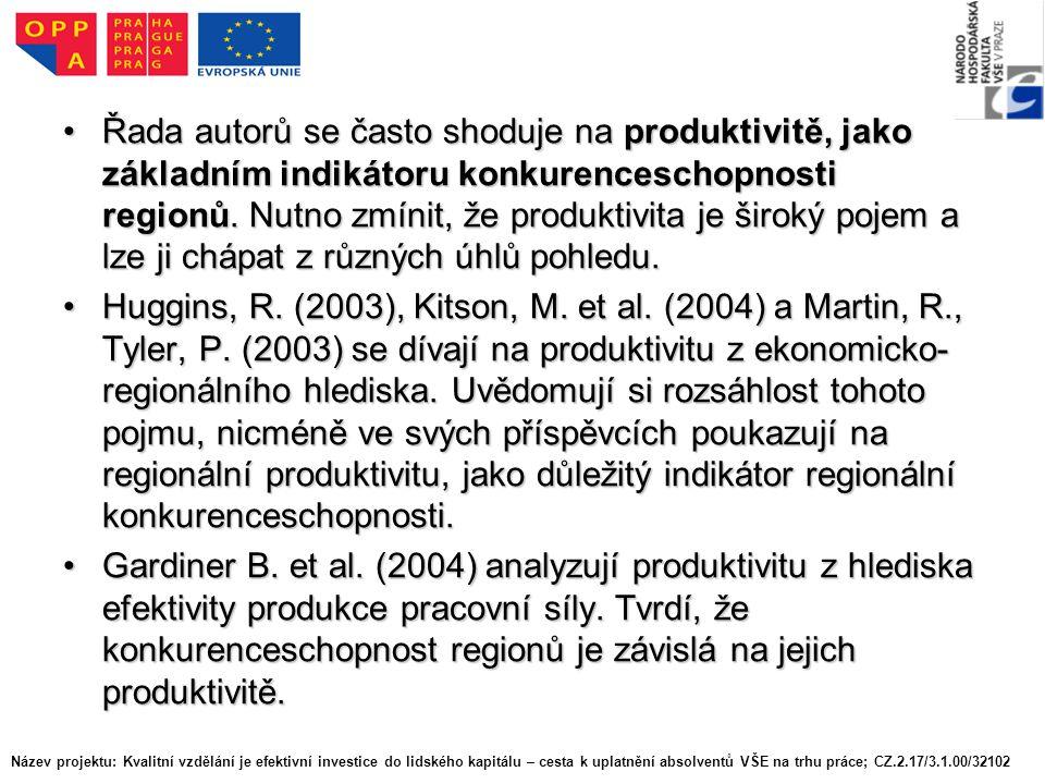Řada autorů se často shoduje na produktivitě, jako základním indikátoru konkurenceschopnosti regionů.