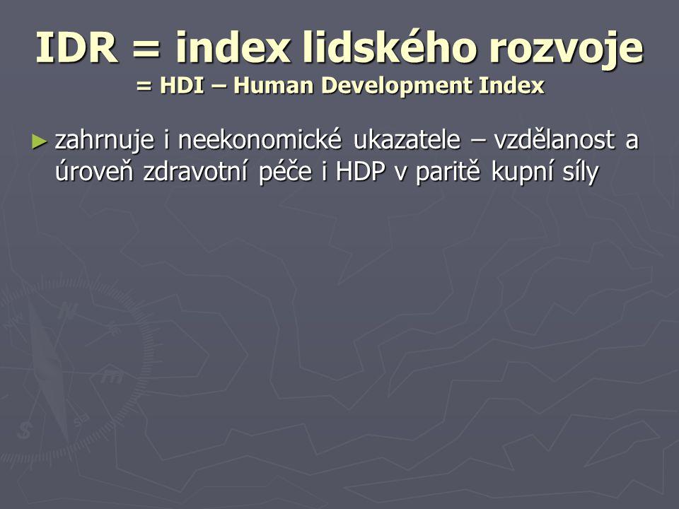 IDR = index lidského rozvoje = HDI – Human Development Index ► zahrnuje i neekonomické ukazatele – vzdělanost a úroveň zdravotní péče i HDP v paritě k