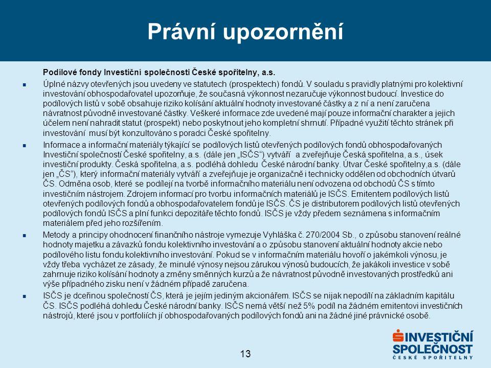 13 Právní upozornění Podílové fondy Investiční společnosti České spořitelny, a.s. n Úplné názvy otevřených jsou uvedeny ve statutech (prospektech) fon