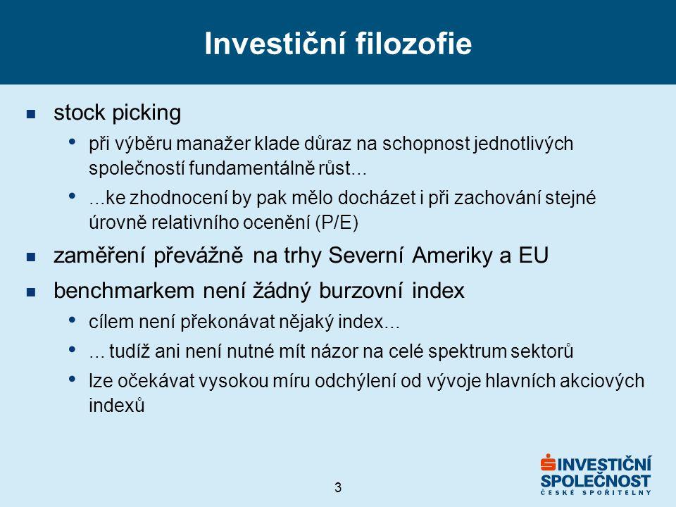 3 Investiční filozofie n stock picking při výběru manažer klade důraz na schopnost jednotlivých společností fundamentálně růst......ke zhodnocení by pak mělo docházet i při zachování stejné úrovně relativního ocenění (P/E) n zaměření převážně na trhy Severní Ameriky a EU n benchmarkem není žádný burzovní index cílem není překonávat nějaký index......
