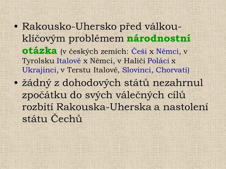Rakousko-Uhersko před válkou- klíčovým problémem národnostní otázka (v českých zemích: Češi x Němci, v Tyrolsku Italové x Němci, v Haliči Poláci x Ukr