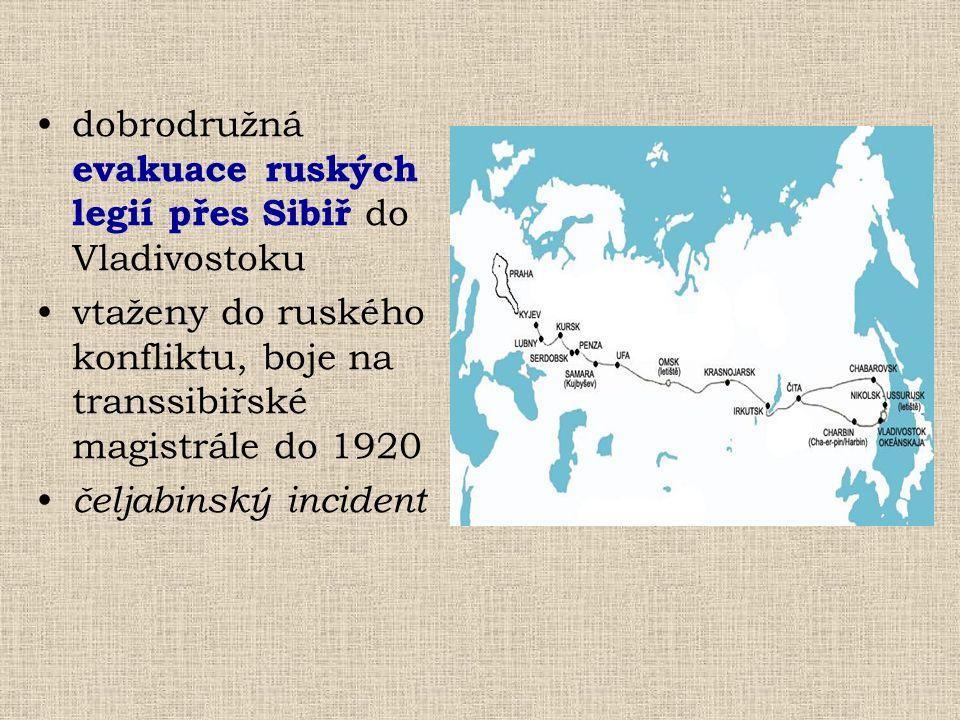 dobrodružná evakuace ruských legií přes Sibiř do Vladivostoku vtaženy do ruského konfliktu, boje na transsibiřské magistrále do 1920 čeljabinský incid