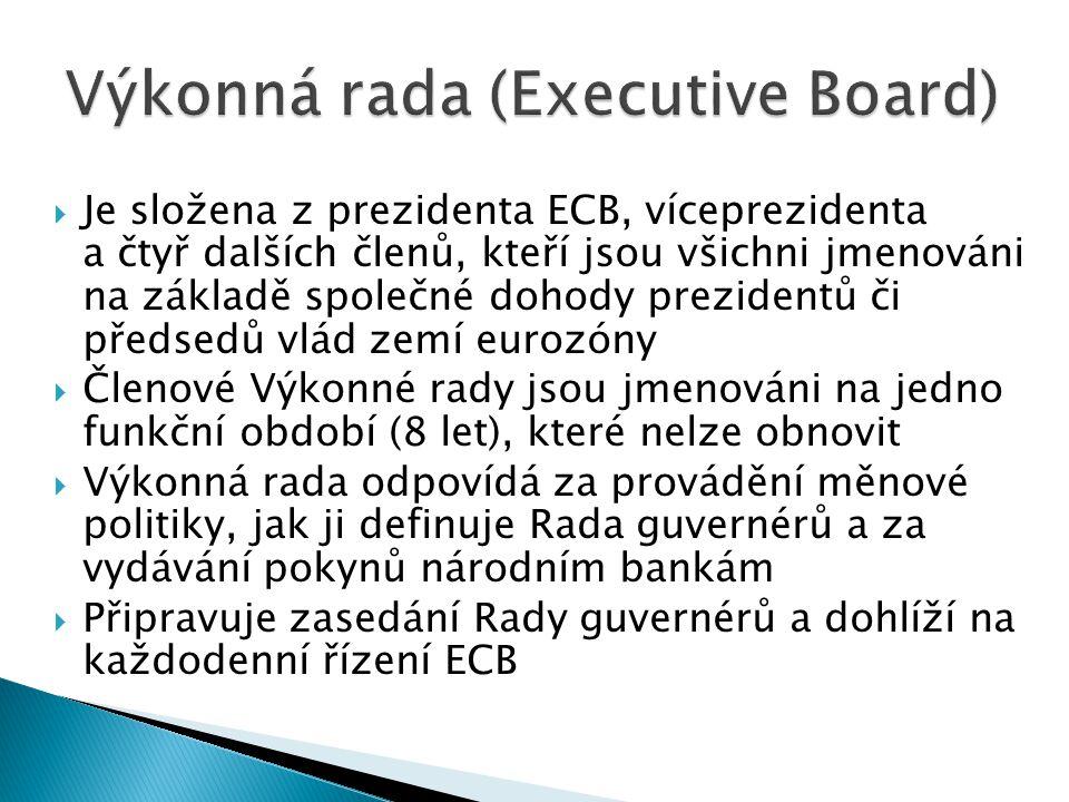  Je složena z prezidenta ECB, víceprezidenta a čtyř dalších členů, kteří jsou všichni jmenováni na základě společné dohody prezidentů či předsedů vlá