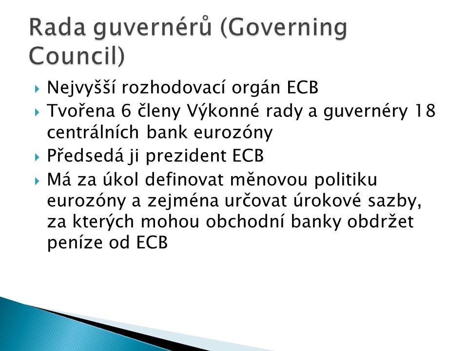  Nejvyšší rozhodovací orgán ECB  Tvořena 6 členy Výkonné rady a guvernéry 18 centrálních bank eurozóny  Předsedá ji prezident ECB  Má za úkol defi