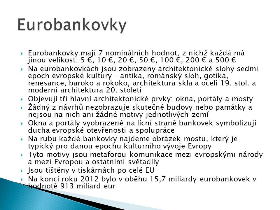  Eurobankovky mají 7 nominálních hodnot, z nichž každá má jinou velikost: 5 €, 10 €, 20 €, 50 €, 100 €, 200 € a 500 €  Na eurobankovkách jsou zobraz