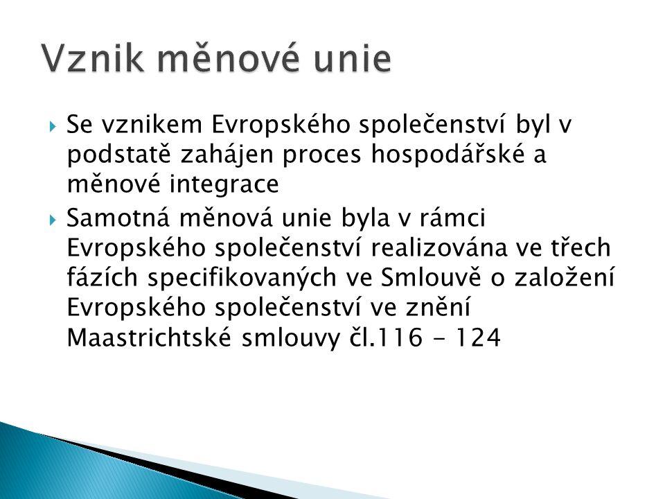  Se vznikem Evropského společenství byl v podstatě zahájen proces hospodářské a měnové integrace  Samotná měnová unie byla v rámci Evropského společ