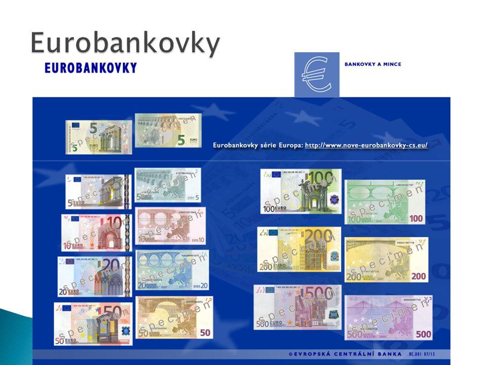  Jedno euro se dělí na 100 centů  Jsou vydávány v 8 hodnotách: 2 eura a 1 euro a 50, 20, 10, 5, 2 a 1 cent  Každá mince má evropskou a národní stranu  Na evropské straně mincí je vyobrazena buď EU před rozšířením v květnu 2004 nebo geografické znázornění Evropy  Národní strana se v každé zemi liší  Všechny euromince platí v každé zemi eurozóny  Všech osm druhů euromincí se odlišuje co do užitého materiálu, velikosti, váhy, barvy a síly  Hrany mincí se liší podle nominálních hodnot  Koncem roku 2009 bylo v oběhu zhruba 86 miliard euromincí v celkové hodnotě 21 miliard euro