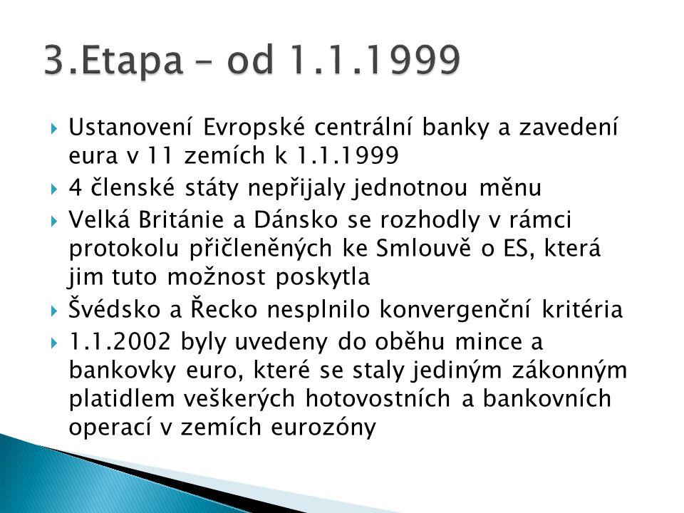  Ustanovení Evropské centrální banky a zavedení eura v 11 zemích k 1.1.1999  4 členské státy nepřijaly jednotnou měnu  Velká Británie a Dánsko se r