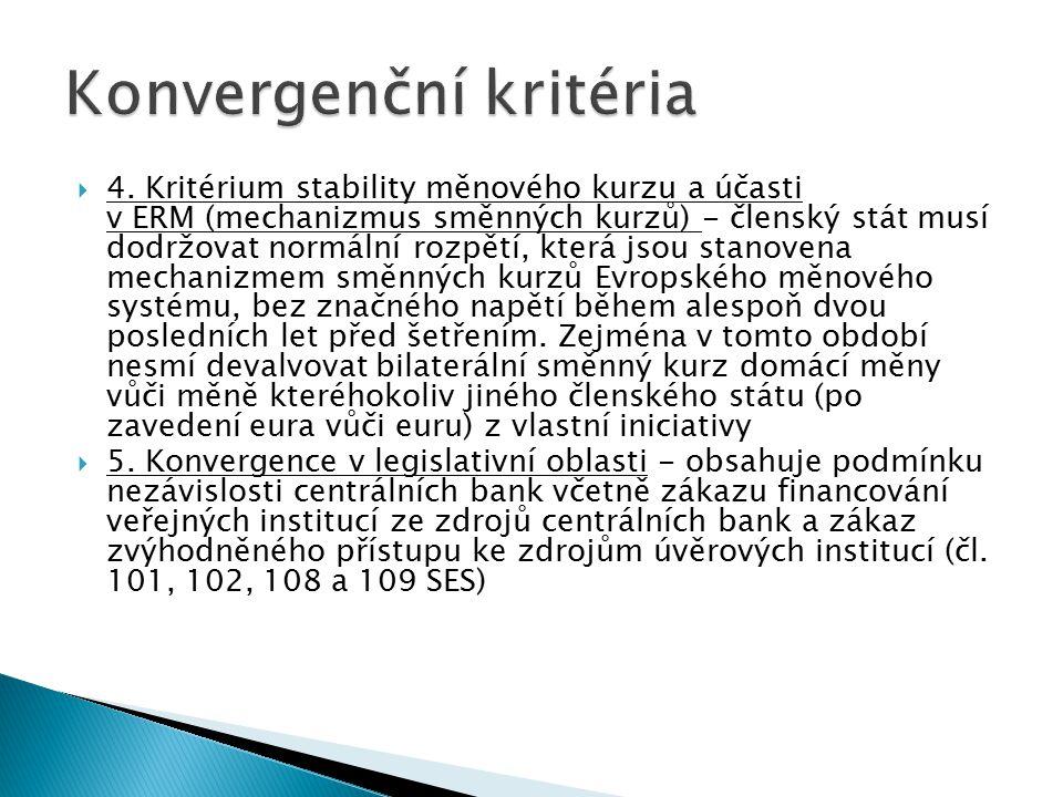  4. Kritérium stability měnového kurzu a účasti v ERM (mechanizmus směnných kurzů) - členský stát musí dodržovat normální rozpětí, která jsou stanove