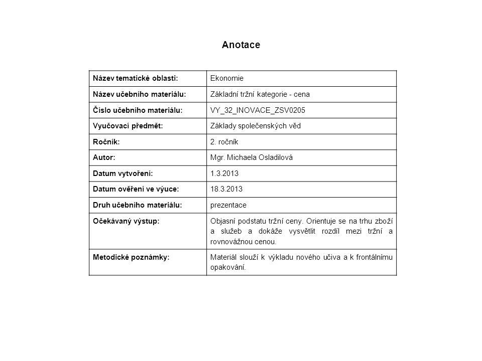 Anotace Název tematické oblasti: Ekonomie Název učebního materiálu: Základní tržní kategorie - cena Číslo učebního materiálu: VY_32_INOVACE_ZSV0205 Vyučovací předmět: Základy společenských věd Ročník: 2.