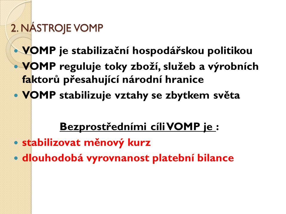 2. NÁSTROJE VOMP VOMP je stabilizační hospodářskou politikou VOMP reguluje toky zboží, služeb a výrobních faktorů přesahující národní hranice VOMP sta