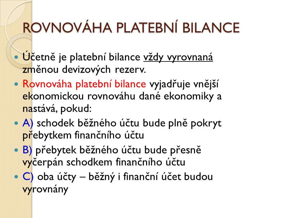 ROVNOVÁHA PLATEBNÍ BILANCE Účetně je platební bilance vždy vyrovnaná změnou devizových rezerv. Rovnováha platební bilance vyjadřuje vnější ekonomickou