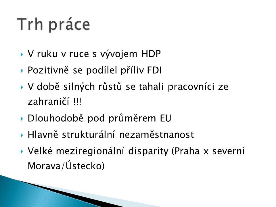  V ruku v ruce s vývojem HDP  Pozitivně se podílel příliv FDI  V době silných růstů se tahali pracovníci ze zahraničí !!.