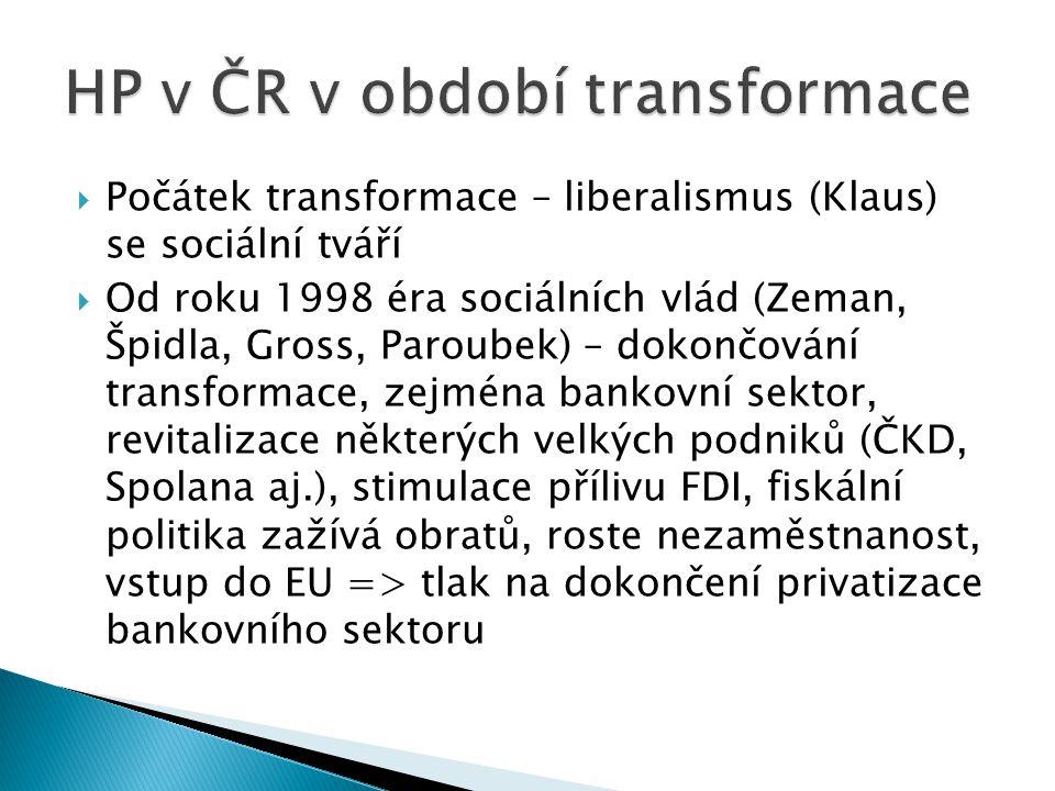  Počátek transformace – liberalismus (Klaus) se sociální tváří  Od roku 1998 éra sociálních vlád (Zeman, Špidla, Gross, Paroubek) – dokončování transformace, zejména bankovní sektor, revitalizace některých velkých podniků (ČKD, Spolana aj.), stimulace přílivu FDI, fiskální politika zažívá obratů, roste nezaměstnanost, vstup do EU => tlak na dokončení privatizace bankovního sektoru