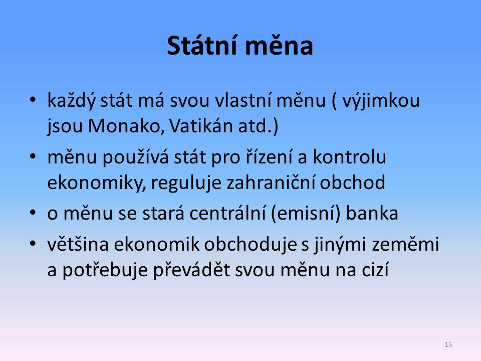 Státní měna každý stát má svou vlastní měnu ( výjimkou jsou Monako, Vatikán atd.) měnu používá stát pro řízení a kontrolu ekonomiky, reguluje zahranič