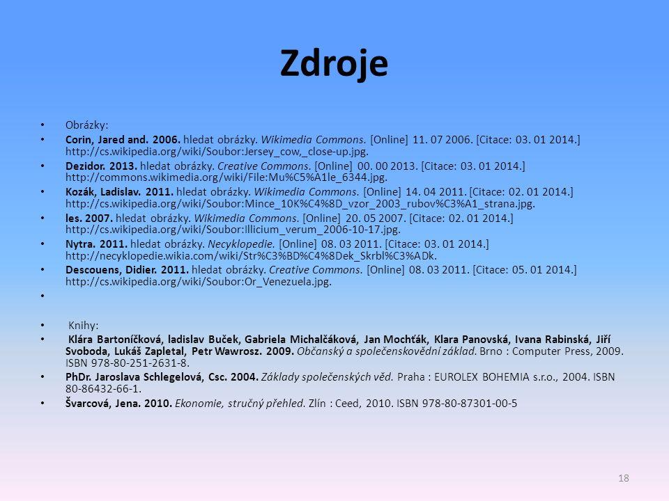 Zdroje Obrázky: Corin, Jared and. 2006. hledat obrázky. Wikimedia Commons. [Online] 11. 07 2006. [Citace: 03. 01 2014.] http://cs.wikipedia.org/wiki/S