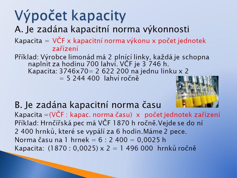 A. Je zadána kapacitní norma výkonnosti Kapacita = VČF x kapacitní norma výkonu x počet jednotek zařízení Příklad: Výrobce limonád má 2 plnící linky,