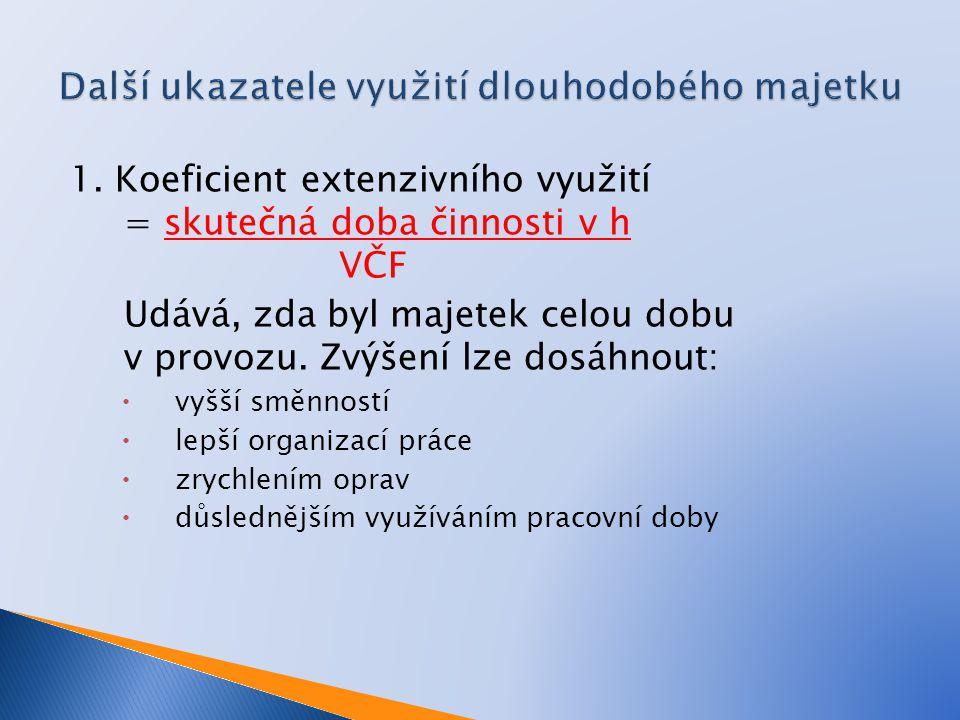 1. Koeficient extenzivního využití = skutečná doba činnosti v h VČF Udává, zda byl majetek celou dobu v provozu. Zvýšení lze dosáhnout:  vyšší směnno
