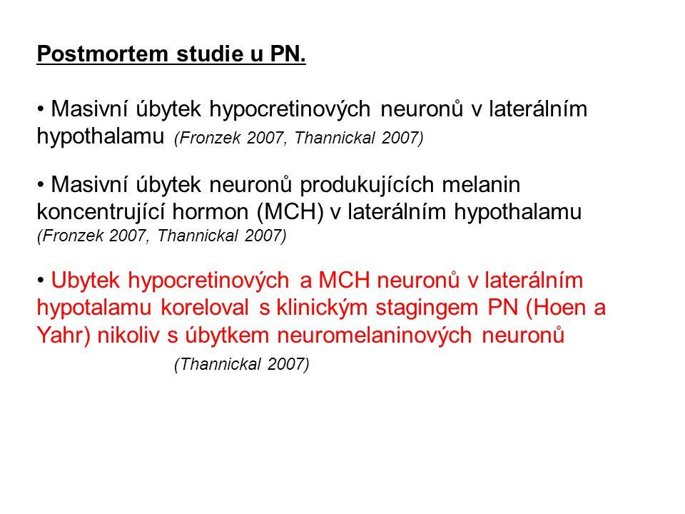 Postmortem studie u PN. Masivní úbytek hypocretinových neuronů v laterálním hypothalamu (Fronzek 2007, Thannickal 2007) Masivní úbytek neuronů produku