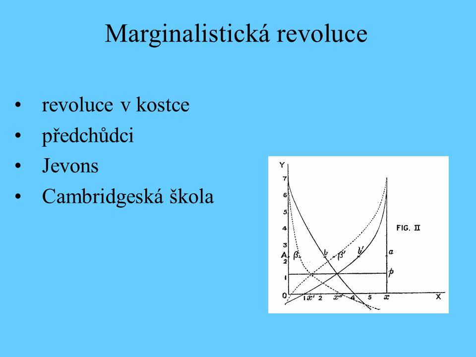 revoluce v kostce předchůdci Jevons Cambridgeská škola Marginalistická revoluce